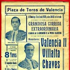 Carteles Toros: CARTEL TOROS, PLAZA VALENCIA , 1928 , ORIGINAL, M340. Lote 41459073