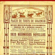 Carteles Toros: CARTEL TOROS, PLAZA DE VALENCIA , 1913 , ORIGINAL, M374. Lote 41473041