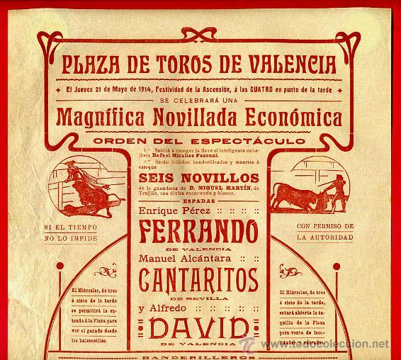 CARTEL TOROS, PLAZA DE VALENCIA , 1914 , ORIGINAL, M375 (Coleccionismo - Carteles Gran Formato - Carteles Toros)
