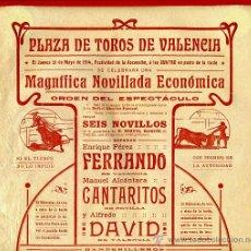 Carteles Toros: CARTEL TOROS, PLAZA DE VALENCIA , 1914 , ORIGINAL, M375. Lote 41473117