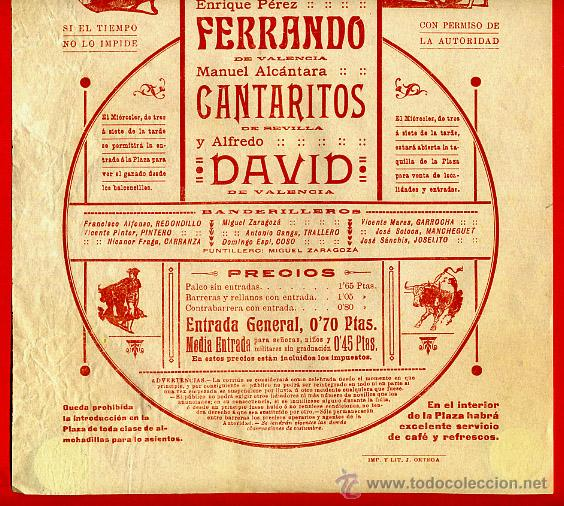 Carteles Toros: CARTEL TOROS, PLAZA DE VALENCIA , 1914 , ORIGINAL, M375 - Foto 2 - 41473117