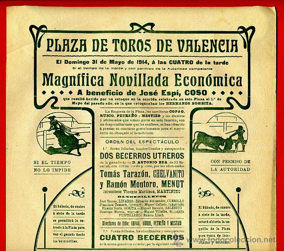 CARTEL TOROS, PLAZA DE VALENCIA , MAYO 1914 , ORIGINAL, M376 (Coleccionismo - Carteles Gran Formato - Carteles Toros)
