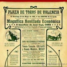 Carteles Toros: CARTEL TOROS, PLAZA DE VALENCIA , MAYO 1914 , ORIGINAL, M376. Lote 41473130