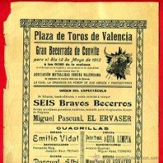 Carteles Toros: CARTEL TOROS, PLAZA DE VALENCIA , MAYO 1912 , ORIGINAL, M378. Lote 41473175