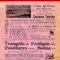 Carteles Toros: CARTEL TOROS, PLAZA DE BARCELONA , 1912 , ORIGINAL, M380. Lote 41473202
