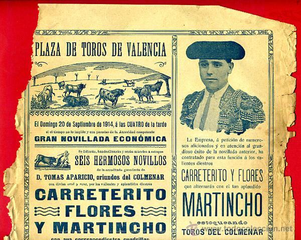 CARTEL TOROS, PLAZA DE VALENCIA 1914 , ORIGINAL, M394 (Coleccionismo - Carteles Gran Formato - Carteles Toros)