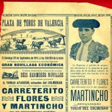 Carteles Toros: CARTEL TOROS, PLAZA DE VALENCIA 1914 , ORIGINAL, M394. Lote 41474333
