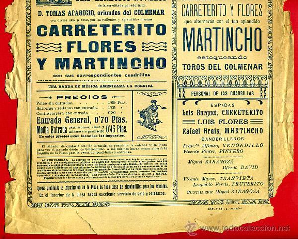 Carteles Toros: CARTEL TOROS, PLAZA DE VALENCIA 1914 , ORIGINAL, M394 - Foto 2 - 41474333