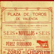 Carteles Toros: CARTEL TOROS, PLAZA DE VALENCIA 1915 , ORIGINAL, M395. Lote 41474367