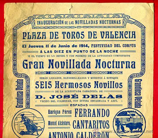 CARTEL TOROS, PLAZA DE VALENCIA 1914 , ORIGINAL, M396 (Coleccionismo - Carteles Gran Formato - Carteles Toros)