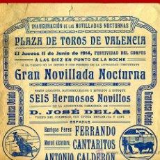 Carteles Toros: CARTEL TOROS, PLAZA DE VALENCIA 1914 , ORIGINAL, M396. Lote 41474380