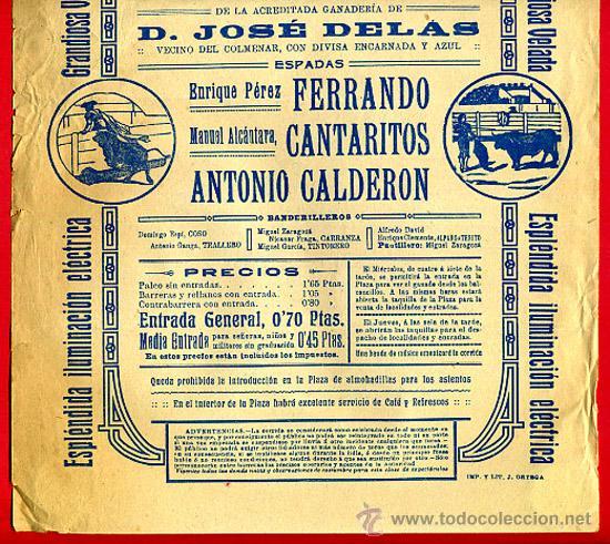 Carteles Toros: CARTEL TOROS, PLAZA DE VALENCIA 1914 , ORIGINAL, M396 - Foto 2 - 41474380