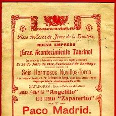 Carteles Toros: CARTEL TOROS, PLAZA JEREZ DE LA FRONTERA, 1912, ANTIGUO, ORIGINAL , M412. Lote 41490309