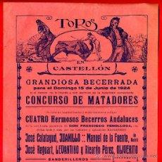 Carteles Toros: CARTEL TOROS, PLAZA CASTELLON , 1924 , ORIGINAL , M424. Lote 41491305