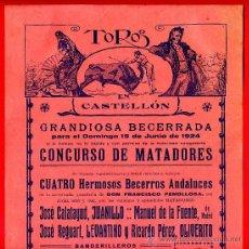 Carteles Toros: CARTEL TOROS, PLAZA CASTELLON , 1924 , ORIGINAL , M425. Lote 41491317