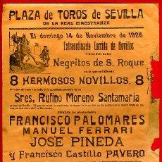 Carteles Toros: CARTEL TOROS, PLAZA SEVILLA , 1926 , ORIGINAL , M427. Lote 41491401