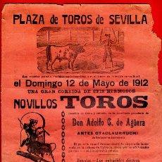 Carteles Toros: CARTEL TOROS, PLAZA SEVILLA , 1912 , ANGELILLO VAZQUEZ II TORQUITO , ORIGINAL , M445. Lote 41492119