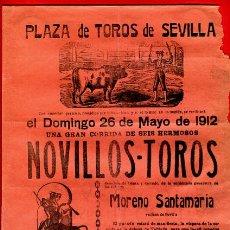 Carteles Toros: CARTEL TOROS, PLAZA SEVILLA , 1912 , CELITA RAFAEL GOMEZ FCO MADRID , ORIGINAL , M446. Lote 41492162