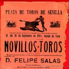 Carteles Toros: CARTEL TOROS, PLAZA SEVILLA , 1912 , ORIGINAL , M447. Lote 41492201