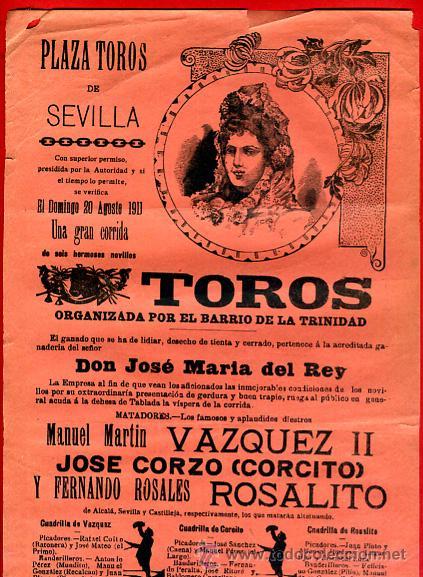 CARTEL TOROS, PLAZA SEVILLA , 1911 , ORIGINAL , M458 (Coleccionismo - Carteles Gran Formato - Carteles Toros)