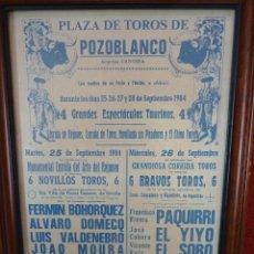 Carteles Toros: CARTEL DE TOROS POZOBLANCO COGIDA DE PAQUIRRI, AUTENTICO. Lote 41498951