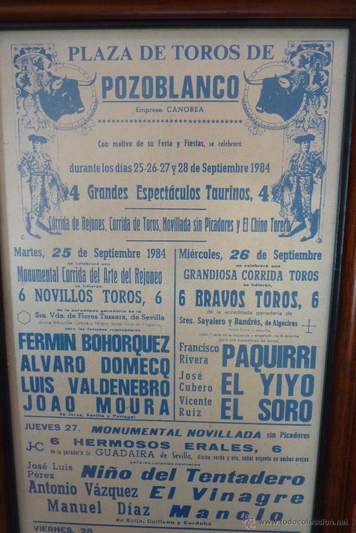 Carteles Toros: CARTEL DE TOROS POZOBLANCO COGIDA DE PAQUIRRI, AUTENTICO - Foto 2 - 41498951