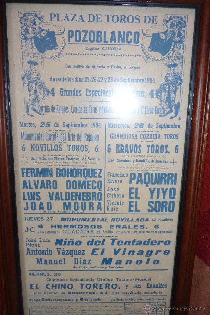 Carteles Toros: CARTEL DE TOROS POZOBLANCO COGIDA DE PAQUIRRI, AUTENTICO - Foto 4 - 41498951
