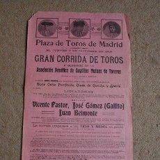 Carteles Toros: CARTEL DE TOROS DE 7 DE OCTUBRE DE 1915. AUXILIOS MUTUOS DE TOREROS. GALLITO, BELMONTE, V. PASTOR.. Lote 41543484