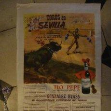 Carteles Toros: CARTEL TOROS EN SEDA FERIA ABRIL SEVILLA 1966 LITOGRAFIA, GONZALEZ BYASS,OSTOS LITRI CORDOBES,VITI, . Lote 32017996