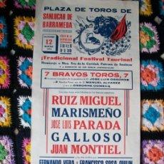 Carteles Toros: CARTEL DE TOROS SANLUCAR DE BARRAMEDA 1976. Lote 42028106
