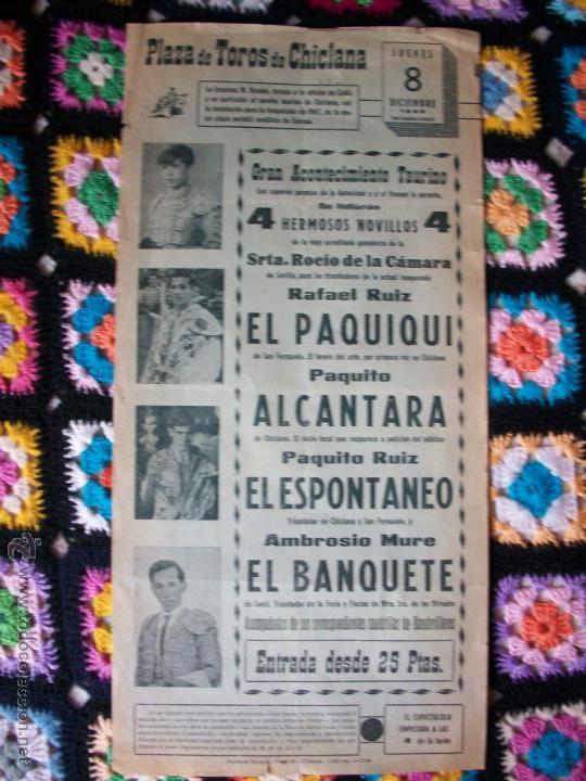CARTEL PLAZA DE TOROS DE CHICLANA 1966 (Coleccionismo - Carteles Gran Formato - Carteles Toros)
