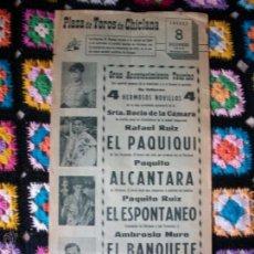 Carteles Toros: CARTEL PLAZA DE TOROS DE CHICLANA 1966. Lote 42028347