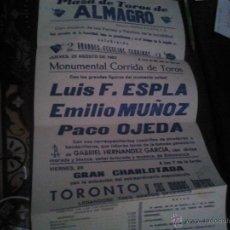 Carteles Toros: CARTEL TOROS EN ALMAGRO FERIA 1983 ESPLA MUÑOZ OJEDA. Lote 42156343