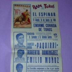 Carteles Toros: PLAZA DE TOROS EL ESPINAR. 16 DE AGOSTO DE 1980. Lote 42515007