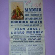 Carteles Toros: PLAZA DE TOROS MADRID 7 DE SEPTIEMBRE DE 1980. Lote 42515015