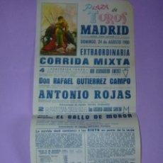 Carteles Toros: PLAZA DE TOROS MADRID 31 DE AGOSTO DE 1980. Lote 42515018