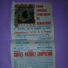 Carteles Toros: PLAZA DE TOROS MADRID 26 DE JUNIO DE 1980. Lote 42531613