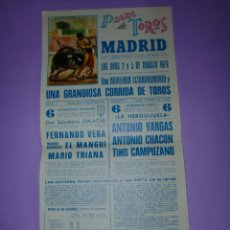Carteles Toros: PLAZA DE TOROS MADRID LOS DÍAS 2 Y 5 DE AGOSTO 1979. Lote 42531650