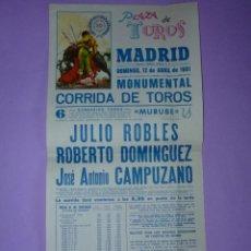 Carteles Toros: PLAZA DE TOROS DE MADRID. 12 DE ABRIL 1981. Lote 42531815
