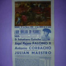 Carteles Toros: PLAZA DE TOROS DE VISTA ALEGRE (CARABANCHEL). 29 DE MARZO 1980. Lote 42531843