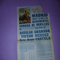 Carteles Toros: PLAZA DE TOROS DE MADRID. 5 DE ABRIL DE 1981. Lote 42533252