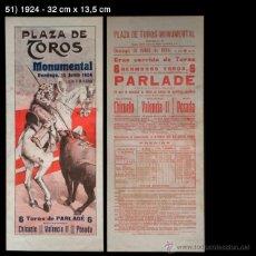 Carteles Toros: PCMAQUIA - CARTEL DE TOROS - 1924 - MONUMENTAL - CHICUELO - VALENCIA II - POSADA. Lote 42539875