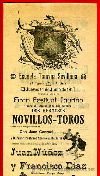 CARTEL TOROS, PLAZA DE SEVILLA , 1917, JUAN NUÑEZ ,FRANCISCO DIAZ, CON PUBLICIDAD , ORIGINAL M228 (Coleccionismo - Carteles Gran Formato - Carteles Toros)