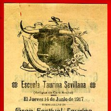 Carteles Toros: CARTEL TOROS, PLAZA DE SEVILLA , 1917, JUAN NUÑEZ ,FRANCISCO DIAZ, CON PUBLICIDAD , ORIGINAL M228. Lote 42570154