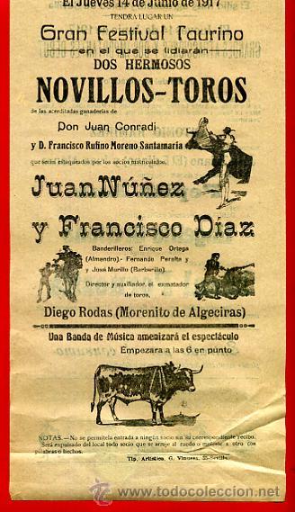 Carteles Toros: CARTEL TOROS, PLAZA DE SEVILLA , 1917, JUAN NUÑEZ ,FRANCISCO DIAZ, CON PUBLICIDAD , ORIGINAL M228 - Foto 2 - 42570154