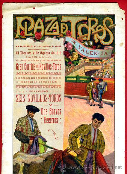 CARTEL TOROS, PLAZA VALENCIA , 1916 ,VERNIA , VARELITO RIVERITO , , ORIGINAL. F14 (Coleccionismo - Carteles Gran Formato - Carteles Toros)