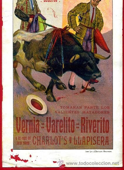 Carteles Toros: CARTEL TOROS, PLAZA VALENCIA , 1916 ,VERNIA , VARELITO RIVERITO , , ORIGINAL. F14 - Foto 2 - 42570976