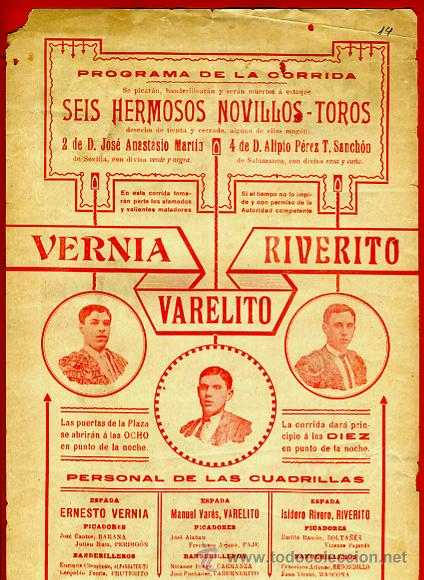 Carteles Toros: CARTEL TOROS, PLAZA VALENCIA , 1916 ,VERNIA , VARELITO RIVERITO , , ORIGINAL. F14 - Foto 3 - 42570976