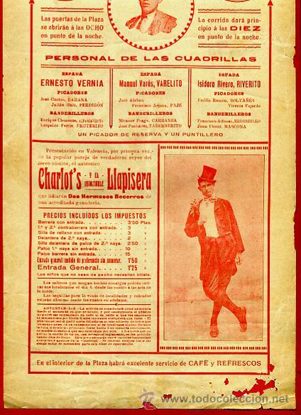 Carteles Toros: CARTEL TOROS, PLAZA VALENCIA , 1916 ,VERNIA , VARELITO RIVERITO , , ORIGINAL. F14 - Foto 4 - 42570976