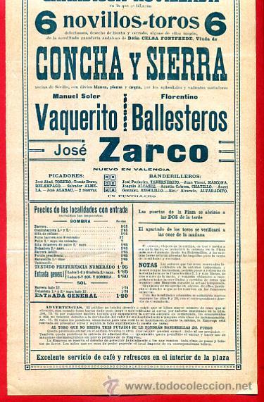 Carteles Toros: CARTEL TOROS, PLAZA VALENCIA , 1916 , VAQUERITO BALLESTEROS ZARCO , ORIGINAL. F23 - Foto 3 - 42571194